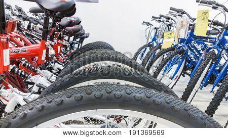 Eskisehir, Turkey - June 05, 2017: Closeup Of Bicycle Wheels Focused On Tire In Carrefour Supermarke