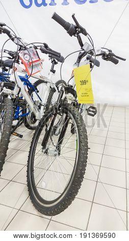 Eskisehir Turkey - June 05 2017: Mountain bikes on sale in Carrefour supermarket in Eskisehir Turkey