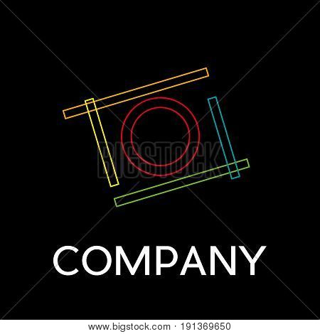 Vector sign abstract camera in flight in linear style on black background