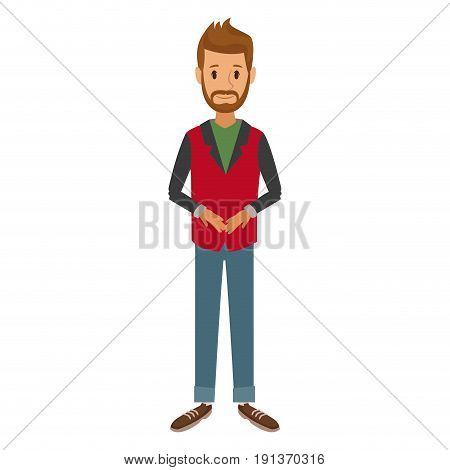 bearded man standing dressed in red and gray jacket vector illustration