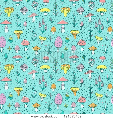 Hand drawn seamless pattern with cartoon mushroom and toadstools. Vector illustration for fabric or wrap paper cute children's design.