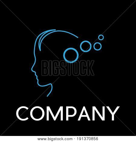Vector sign abstract concept of psychologist analyst or scientist in linear style on black background