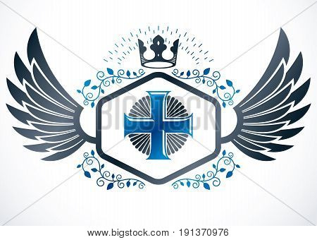 Vintage winged emblem created in vector heraldic design and composed using religious cross and monarch crown.