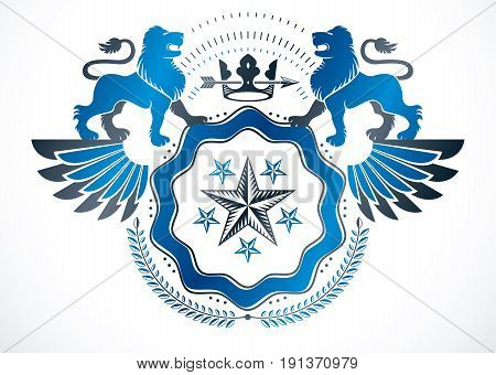 Heraldic sign composed using vector vintage elements like wild lion and imperial crown heraldic vector.