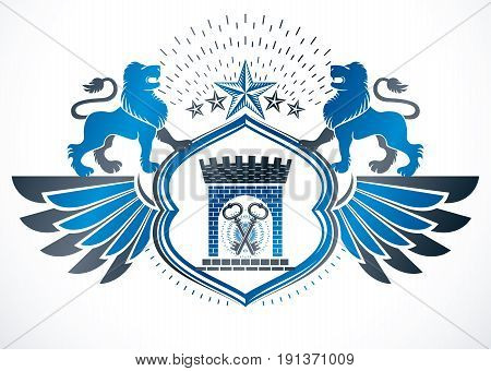 Heraldic sign created using vector vintage elements like wild lion illustration pentagonal stars and ancient castle.