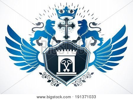 Heraldic sign composed with vector design elements like wild lion illustration religious cross and ancient castle.