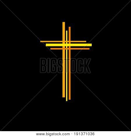 Vector abstract Christ crucifix; three crosses on black background