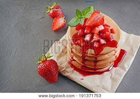 Tasty Breakfast. Homemade Pancakes And Berry Syrup With Fresh Strawberry