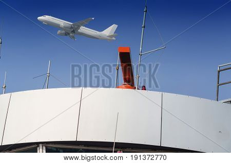 Radar at the airport air traffic control and blue sky