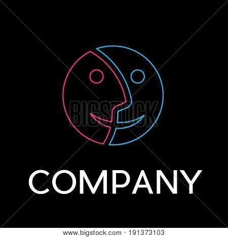 Vector sign abstract dual personality in linear style on black background