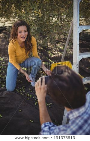 High angle view of boyfriend photographing smiling girlfriend at olive farm