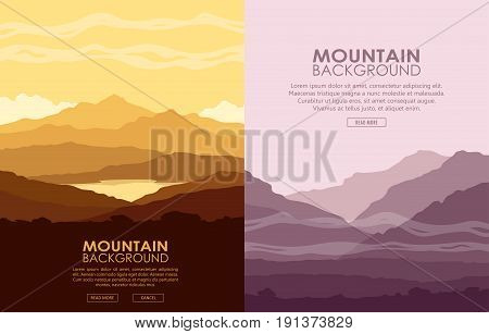 Set of vertical flyers with mountain landscapes. Yellow and purple mountain ranges at sunset. Vector illustration.