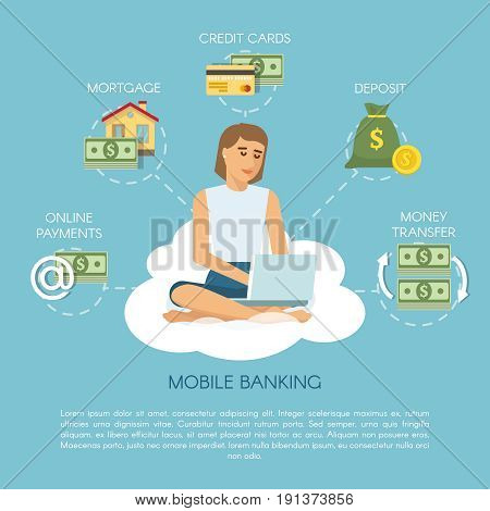 Flat mobile banking concept with woman sitting on cloud and dreaming about financial services and opportunities vector illustration