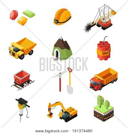 Isometric mining industry elements set with vehicles pick helmet diamonds dynamite trolley shovel drill trees isolated vector illustration
