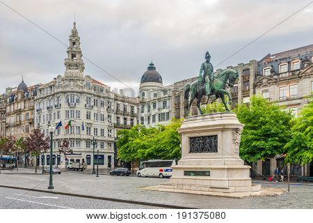 PORTO,PORTUGAL - MAY 13,2017 - View at buildings in the Avenida dos Aliados. Porto is one of the oldest European centres and its historical core was proclaimed a World Heritage Site by UNESCO in 1996.