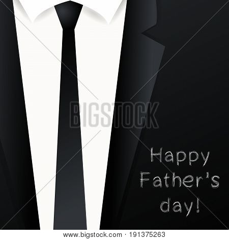 Happy Father's day background - suit with necktie. Template design for greeting card, invitation, holiday banners.