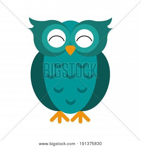 teal happy cute  owl icon image vector illustration design