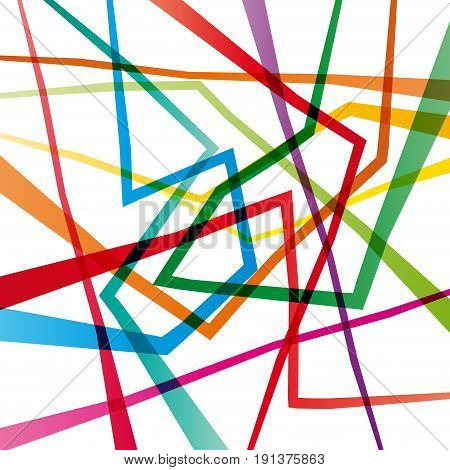 Vector geometric abstract confusion colorful background broken