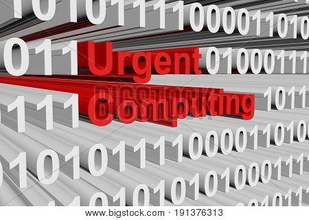 Urgent computing in binary code, 3D illustration
