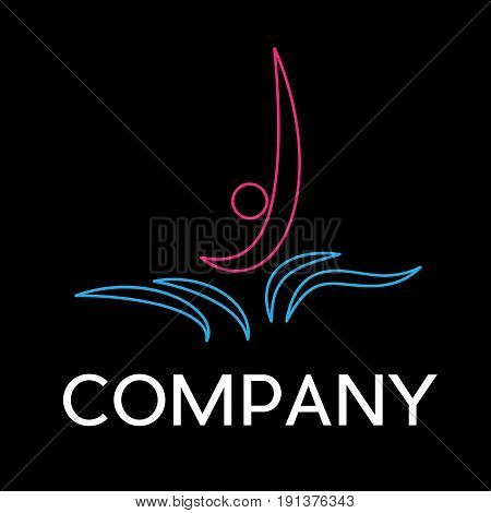 Vector sign dips in the pool in linear style on black background