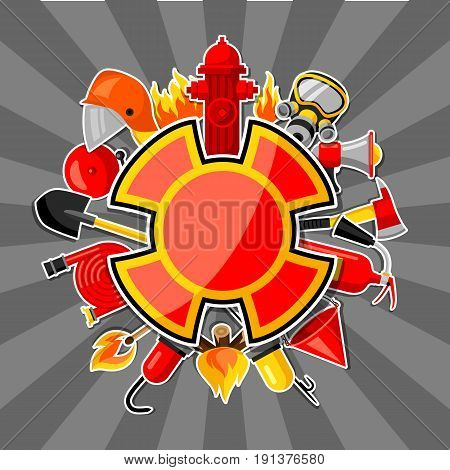 Badge with firefighting sticker items. Fire protection equipment.