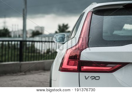 Moscow, Russia - May 3, 2017 Volvo V90 Cross Country, Front-side View. Test Of New Volvo V90 Cross C