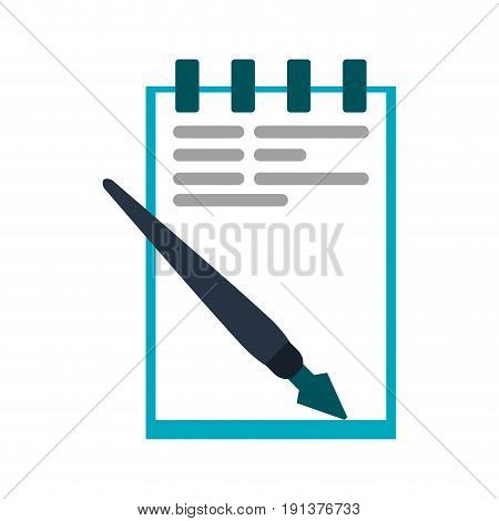 notepad with fountain pen icon image vector illustration design