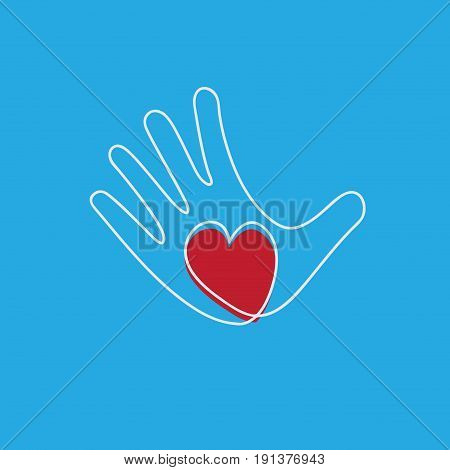 Vector hand and heart aid and voluntary concept