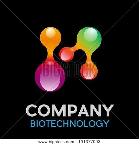 Vector abstract biotechnology concept on black background