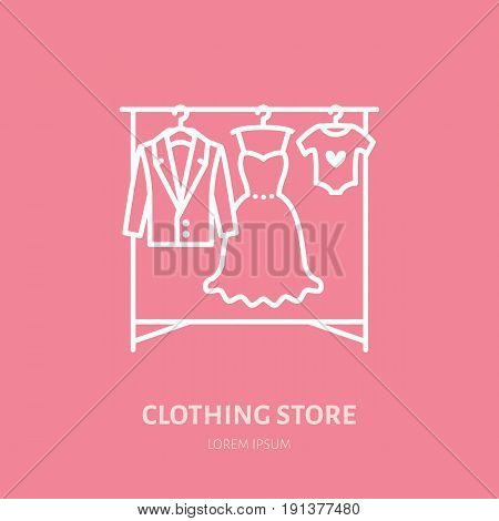 Wedding dress, men suit, kids clothes on hanger icon, clothing shop line logo. Flat sign for apparel collection. Logotype for laundry, dry cleaning.