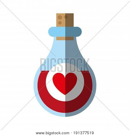 heart labeled flask or potion love valentines day related icon icon image vector illustration design