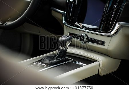 Moscow, Russia - May 3, 2017 Volvo V90 Cross Country, Interior View. Test Of New Volvo V90 Cross Cou
