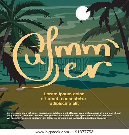 Summer vacation concept background with space for text. Summer beach landscape at night. Silhouettes of palm trees, chaise in moonlight. Vector flat cartoon illustration
