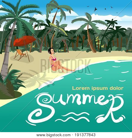 Summer vacation concept background with space for text. Sea landscape summer tropical private beach. Young woman in bikini sunbathing siting on sand. Vector flat cartoon illustration