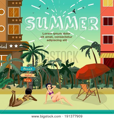 Summer vacation concept background with space for text. Tropical beach in the resort town with hotels. Women in a bikini sunbath on the beach. Flat vector cartoon illustration