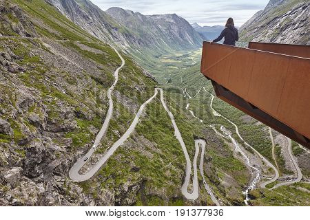 Norwegian mountain road. Trollstigen. Norway tourist viewpoint. Horizontal