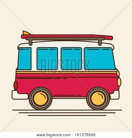 Vector illustration of a retro travel van flat style