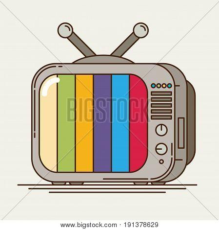 Flat icon retro tv colorful line design