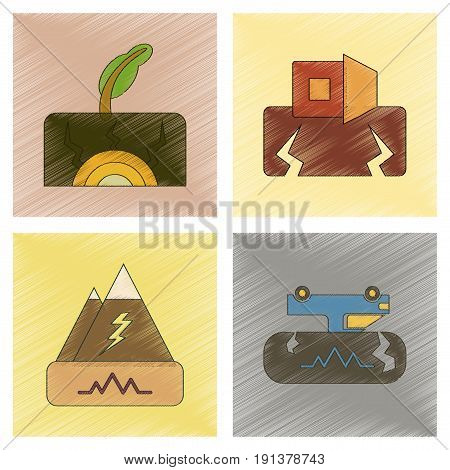 assembly flat shading style icon of natural disaster earthquake