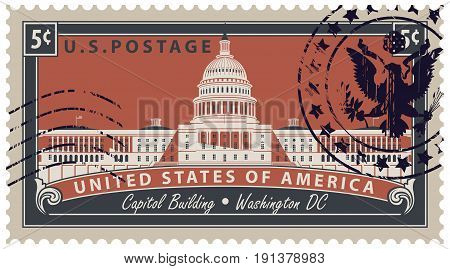 Postage stamp with inscriptions and the image of the US Capitol in Washington DC. Vector illustration Capitol Building in Washington