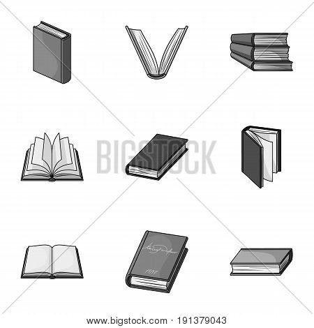 A set of pictures with books. Books, notebooks, studies. Books icon in set collection on monochrome style vector symbol stock web illustration.