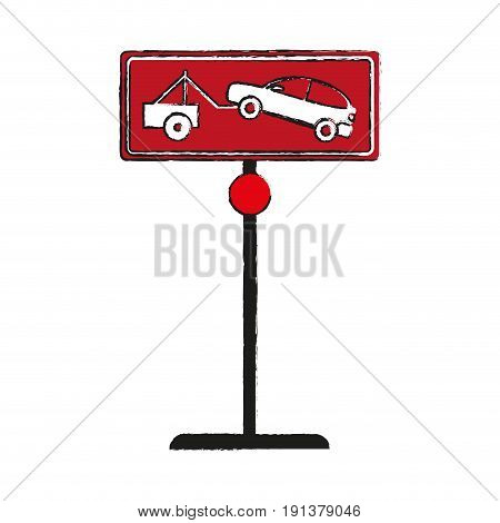 car towing no park zone parking sign icon image vector illustration design  sketch style