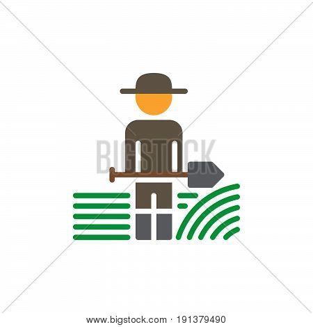Farmer man with shovel icon vector filled flat sign solid colorful pictogram. Symbol logo illustration