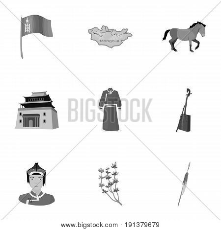 Mongolian national characteristics. Icons set about Mongolia.Clothing, soldiers, equipment. Mongolia icon in set collection on monochrome style vector symbol stock web illustration.