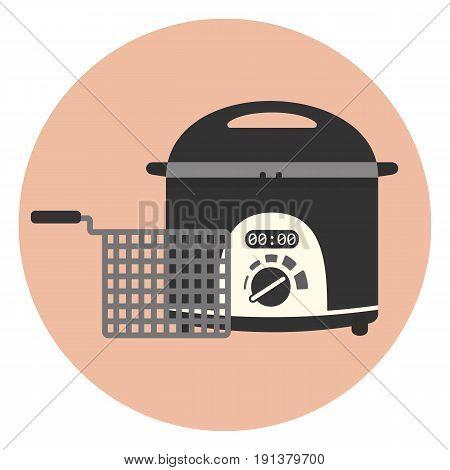 Flat Fryer Icon, Chip Pan, Deep Frying Machine
