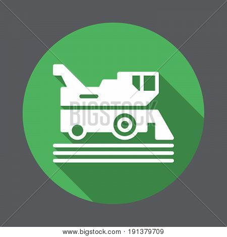Combine harvester flat icon. Round colorful button circular vector sign with long shadow effect. Flat style design