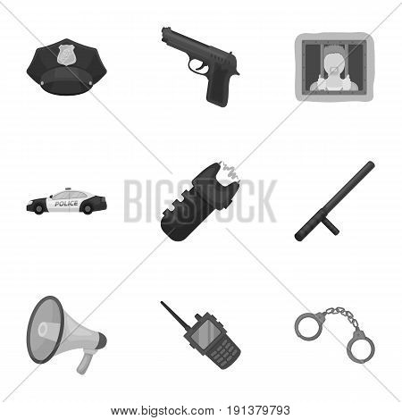 Police equipment, police, prisoners, protection of citizens.Police icon in set collection on monochrome style vector symbol stock web illustration.