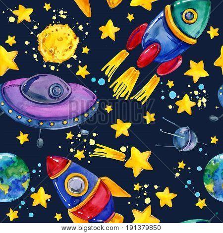 cartoon space seamless pattern. rocket. Flying saucer. moon. planet earth. star. satellite.