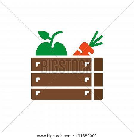 Fruits and vegetables icon vector filled flat sign solid colorful pictogram. Harvest symbol logo illustration