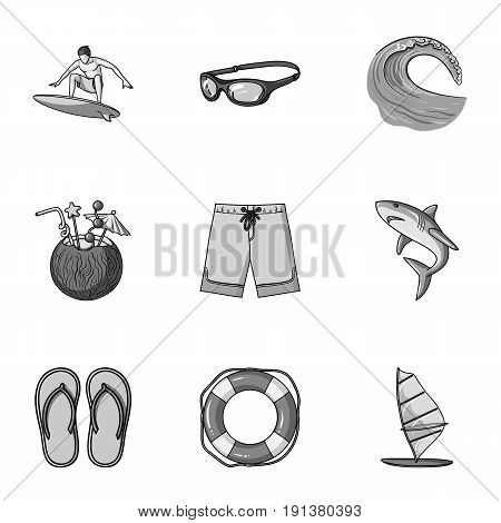 A collection of pictures on the theme of the beach, the sea, surfing. Rescuers of the beach.Surfing icon in set collection on monochrome style vector symbol stock web illustration.